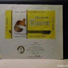 Etiquetas antiguas: ENVOLTORIO CHOCOLATE CON LECHE 'LAK' *TRAPA* 150 GRMS. PALENCIA. 1964. Lote 269162268