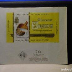 Etiquetas antiguas: ENVOLTORIO CHOCOLATE CON LECHE 'LAK' *TRAPA* 150 GRMS. PALENCIA. 1964. Lote 269162293