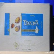 Etiquetas antiguas: ENVOLTORIO CHOCOLATE ALMENDRADO *TRAPA* 150 GRMS. PALENCIA. 1965. Lote 269162653