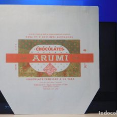 Etiquetas antiguas: ENVOLTORIO CHOCOLATE FAMILIAR A LA TAZA *ARUMÍ* 200 GRMS. VICH (BARCELONA) 1964. Lote 269483633