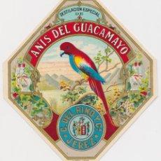 Etiquetas antigas: ETIQUETA DE ANIS DEL GUACAMAYO - C.DEL PINO Y CIA. - JEREZ - LIT. HURTADO - (9,7X10,8). Lote 270158448