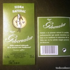 Etiquetas antigas: ETIQUETA SIDRA NATURAL EL GOBERNADOR-ASTURIAS. Lote 270210828