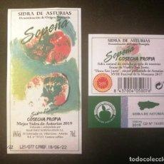 Etiquetas antigas: ETIQUETA SIDRA SOPEÑA-ASTURIAS. Lote 270210988