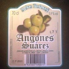 Etiquetas antigas: ETIQUETA SIDRA NATURAL ANGONES SUÁREZ-ASTURIAS. Lote 270211218