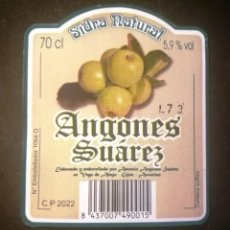 Etiquetas antigas: ETIQUETA SIDRA NATURAL ANGONES SUÁREZ-ASTURIAS. Lote 270211263