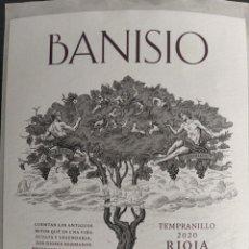 Etiquetas antiguas: ETIQUETA VINO RIOJA - BANISIO - TEMPRANILLO 2020. ILUSTRACIÓN BACO, DIONISIO DOS DIOSES HERMANOS. Lote 271131798