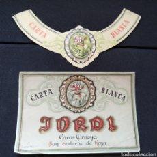 Etichette antiche: ANTIGUA ETIQUETA AÑO 1963 CARTA BLANCA JORDI CAVAS ORNOYA SANT SADURNÍ DANOIA. Lote 275915328