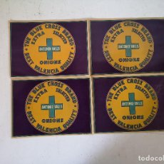 Etichette antiche: LOTE DE 4 ANTIGUAS ETIQUETAS DE CEBOLLAS, THE BLUE CROSS BRAND, A. VALLS, VALENCIA, UNOS 27 X 20 CMS. Lote 276268748