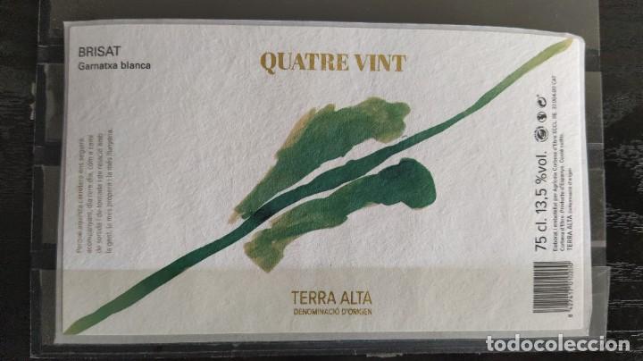 ETIQUETA VINO - QUATRE VINT BRISAT - TERRA ALTA CATALUÑA (Coleccionismo - Etiquetas)