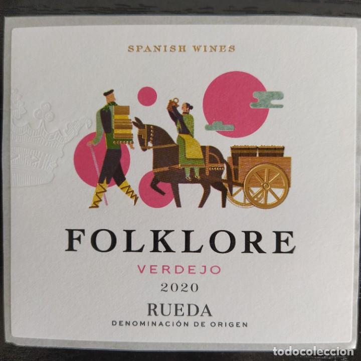 Etiquetas antiguas: ETIQUETA VINO - FOLKLORE - VERDEJO 2020 RUEDA. SPANISH WINES - Foto 2 - 277098408