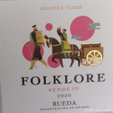 Etiquetas antigas: ETIQUETA VINO - FOLKLORE - VERDEJO 2020 RUEDA. SPANISH WINES. Lote 277098408