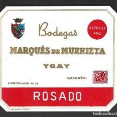 Étiquettes anciennes: ETIQUETA VINO, MARQUES DE MURRIETA, ROSADO, 1940-1950.. Lote 277458278