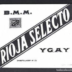 Étiquettes anciennes: ETIQUETA VINO, MARQUES DE MURRIETA, RIOJA SELECTO, 1940-1950.. Lote 277458308