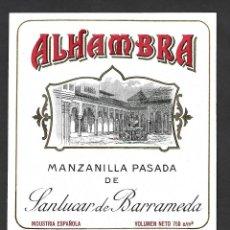 Étiquettes anciennes: ETIQUETA VINO MANZANILLA ALHAMBRA, ANTIGUA.. Lote 277472713