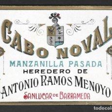 Étiquettes anciennes: ETIQUETA MANZANILLA, ANTONIO RAMOS MENOYO, SANLÚCAR DE BARRAMEDA.. Lote 277473573