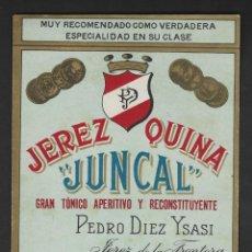 Étiquettes anciennes: ETIQUETA JEREZ, JUNCAL, PEDRO DIEZ ISASI. Lote 277474323