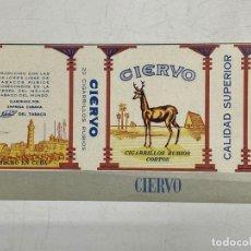 Etiquetas antiguas: ETIQUETA DE TABACO. CIERVO. CIGARRILLOS RUBIOS CORTOS. CUBA.. Lote 278693398