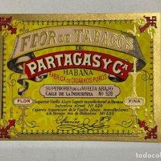 Etiquetas antiguas: ETIQUETA DE TABACO. FLOR DE TABACOS DE PARTAGAS Y Cª. FABRICA DE CIGARROS PUROS. HABANA.. Lote 278693883