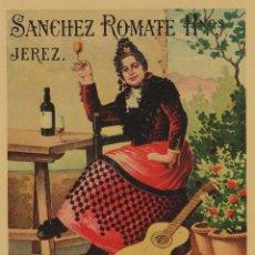 Etiquetas antiguas: SÁNCHEZ ROMATE HNOS . JEREZ . MOSCATEL DUQUESA . .ETIQUETA DE VINO ORIGINAL. Lote 280117063