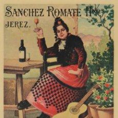 Etiquetas antiguas: SÁNCHEZ ROMATE HNOS . JEREZ . MOSCATEL DUQUESA . .ETIQUETA DE VINO ORIGINAL. Lote 280117078