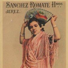 Etiquetas antiguas: SÁNCHEZ ROMATE HNOS . JEREZ . MANZANILLA VIVA LA PEPA . .ETIQUETA DE VINO ORIGINAL. Lote 280117313