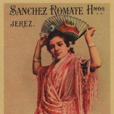 Etiquetas antiguas: SÁNCHEZ ROMATE HNOS . JEREZ . MANZANILLA VIVA LA PEPA . .ETIQUETA DE VINO ORIGINAL. Lote 280117333