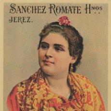 Etiquetas antiguas: SÁNCHEZ ROMATE HNOS . JEREZ . AMONTILLADO PETENERA . .ETIQUETA DE VINO ORIGINAL. Lote 280117413