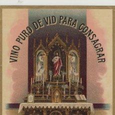 Etiquetas antiguas: SÁNCHEZ ROMATE HNOS . JEREZ .PURO DE VID PARA CONSAGRAR . .ETIQUETA DE VINO ORIGINAL. Lote 280117483