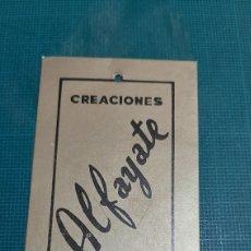 Etiquetas antiguas: ETIQUETA CREACIONES ALFAYATE MADRID LUISA JUNCO. Lote 287764638