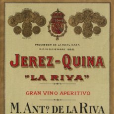 Etiquetas antigas: DE LA RIVA M. ANTº . JEREZ QUINA . ETIQUETA VINO ORIGINAL REF 1. Lote 287989453