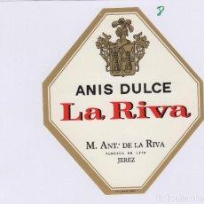 Etiquetas antigas: DE LA RIVA M. ANTº . JEREZ ANIS DULCE . ETIQUETA VINO ORIGINAL REF 8. Lote 287992533