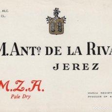 Etiquetas antiguas: DE LA RIVA M. ANTº .JEREZ M.Z.A. PALE DRY . ETIQUETA VINO 12,5 X 9,5 CM ORIGINAL REF 12. Lote 287995818