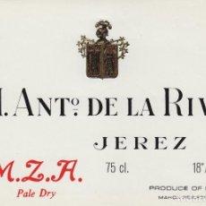 Etiquetas antiguas: DE LA RIVA M. ANTº .JEREZ M.Z.A. PALE DRY . ETIQUETA VINO 12,5 X 9,5 CM ORIGINAL REF 12. Lote 287995898