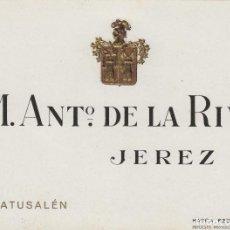 Etiquetas antiguas: DE LA RIVA M. ANTº .JEREZ MATUSALEN . ETIQUETA VINO 12,5 X 9,5 CM ORIGINAL REF 12. Lote 287995928