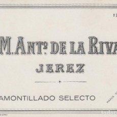 Etiquetas antiguas: DE LA RIVA M. ANTº .JEREZ AMONTILLADO SELECTO . ETIQUETA VINO 11,5 X 8,5 ORIGINAL REF 15. Lote 288000993