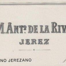 Etiquetas antiguas: DE LA RIVA M. ANTº .JEREZ FINO JEREZANO . ETIQUETA VINO 11,5 X 8,5 ORIGINAL REF 15. Lote 288001068