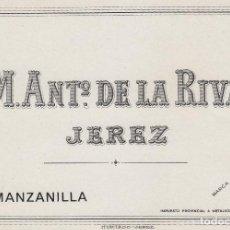Etiquetas antiguas: DE LA RIVA M. ANTº .JEREZ MANZANILLA . ETIQUETA VINO 11,5 X 8,5 ORIGINAL REF 15. Lote 288001133