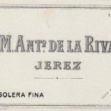 Etiquetas antiguas: DE LA RIVA M. ANTº .JEREZ SOLERA FINA . ETIQUETA VINO 11,5 X 8,5 ORIGINAL REF 15. Lote 288001188