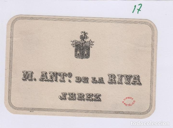 DE LA RIVA M. ANTº .JEREZ . ETIQUETA VINO 11,5 X 7,5 ORIGINAL REF 17 (Coleccionismo - Etiquetas)