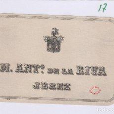 Etiquetas antiguas: DE LA RIVA M. ANTº .JEREZ . ETIQUETA VINO 11,5 X 7,5 ORIGINAL REF 17. Lote 288001618