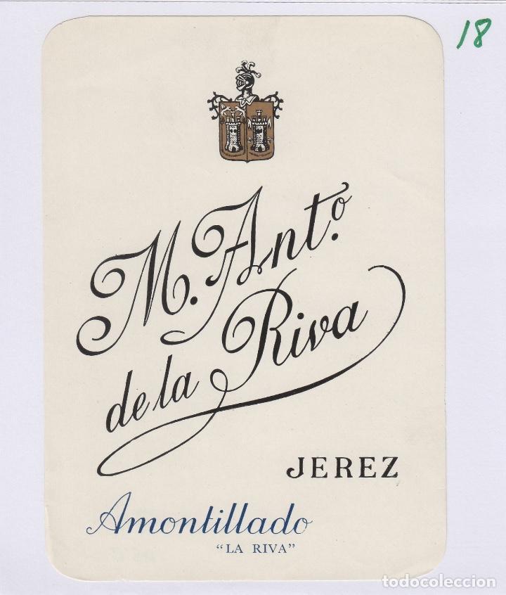 DE LA RIVA M. ANTº .JEREZ .AMONTILLADO ETIQUETA VINO 12X 9 CM ORIGINAL REF 17 (Coleccionismo - Etiquetas)