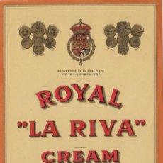 Etiquetas antigas: DE LA RIVA M. ANTº .JEREZ ROYAL CREAM . ETIQUETA 15 X 11 VINO ORIGINAL REF 29. Lote 288008798