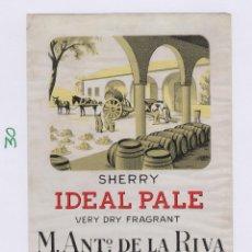 Etiquetas antigas: DE LA RIVA M. ANTº .JEREZ IDEAL PALE . ETIQUETA 15 X 10 VINO ORIGINAL REF 30. Lote 288008983