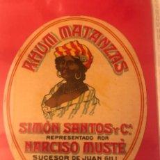 Etiquetas antiguas: ETIQUETA RHUM. NARCISO MUSTE. REUS. Lote 288038108