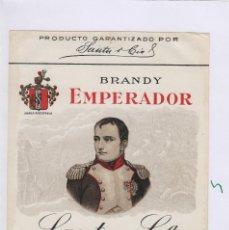 Etiquetas antigas: SAUTU .JEREZ . JEREZ BRANDY EMPERADOR . ETIQUETA VINO ORIGINAL REF 5. Lote 288069383