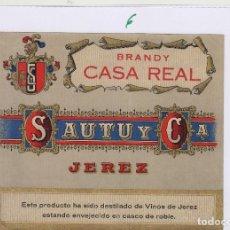 Etiquetas antigas: SAUTU .JEREZ . JEREZ BRANDY CASA REAL . ETIQUETA VINO ORIGINAL REF 6. Lote 288069688