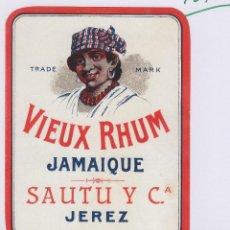 Etiquetas antigas: SAUTU .JEREZ . VIEUX RHUM , RON JAMAICA , . ETIQUETA VINO ORIGINAL REF 12A. Lote 288071018