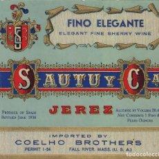 Etiquetas antigas: SAUTU .JEREZ . TRES CORTADOS VINTAGE 1868 . ETIQUETA VINO ORIGINAL REF 25. Lote 288077128