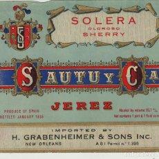 Etiquetas antigas: SAUTU .JEREZ . TRES CORTADOS VINTAGE 1868 . ETIQUETA VINO ORIGINAL REF 25. Lote 288077153