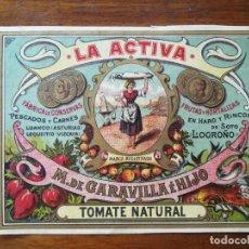 Etiquetas antiguas: ETIQUETA CONSERVAS LA ACTIVA - M GARAVILLA E HIJO - HARO ( RIOJA) 1903 TOMATE NATURAL -13,5 X 10 CM. Lote 288375603
